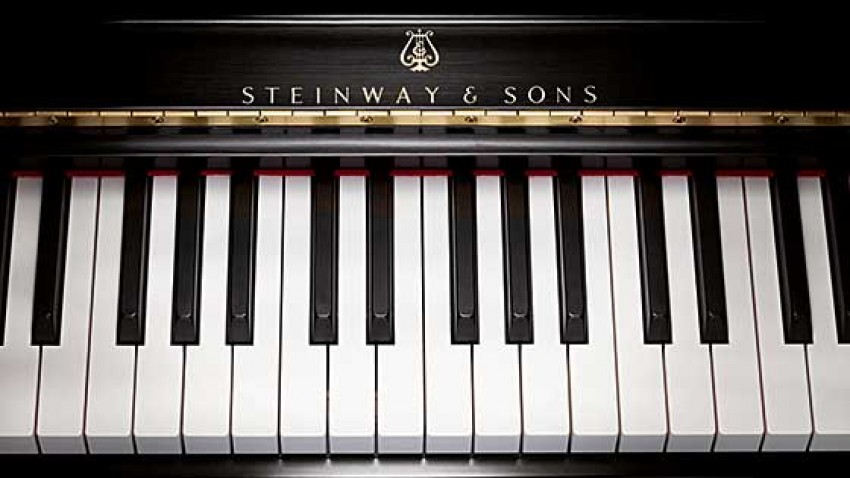 Photo of Steinway piano.