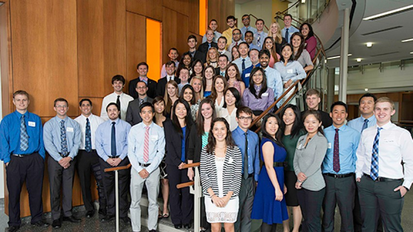 Photo of the inaugural class of the WMU Homer Stryker M.D. School of Medicine.