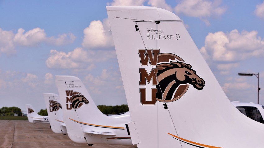 Photo of WMU College of Aviation airplanes.