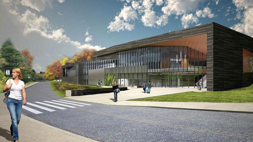 Photo of a rendering of the south facade of the Valley Dining Center.