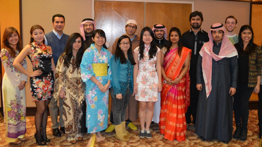 Photo of student hosts of International Festival.