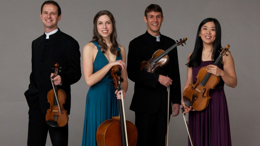 Photo of the Kontras Quartet.