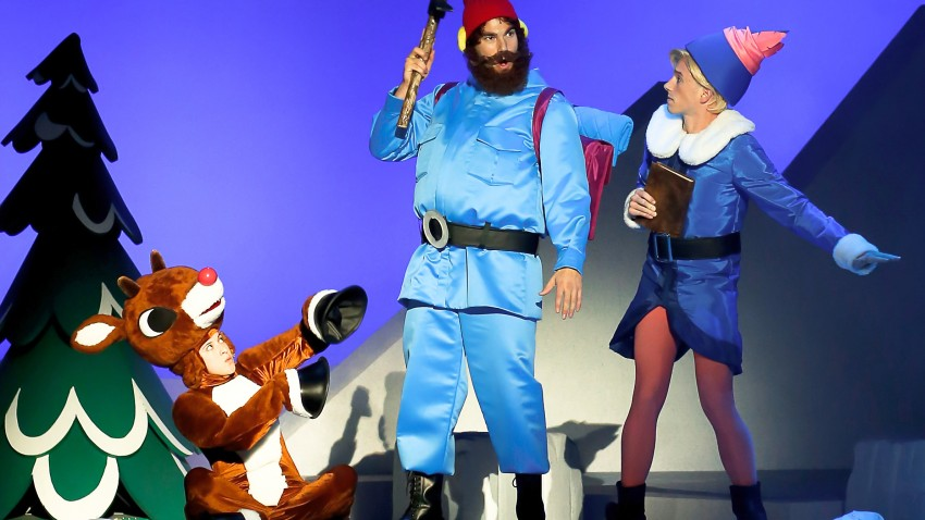 Photo of Rudolph, Yukon Cornelius and Hermey from Rudolph the Musical.