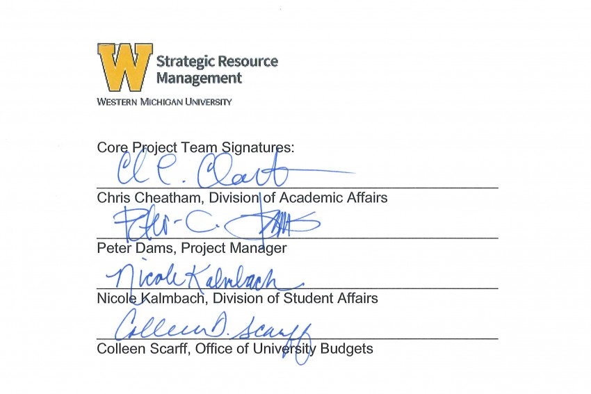 This is an image containing the signatures of the Core Team: Chris Cheatham, Peter Dams, Nicole Kalmbach and Colleen Scarff.