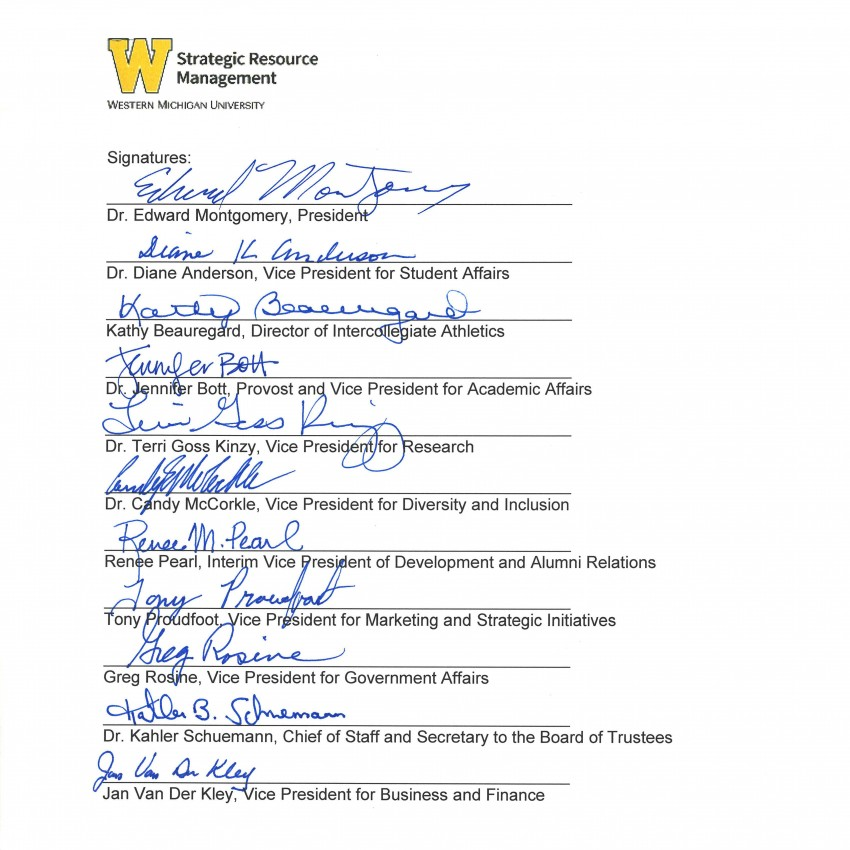 This is an image containing the signatures of the Strategic Direction and Steering Committee: Edward Montgomery, Diane Anderson, Kathy Beauregard, Jennifer Bott, Terri Goss Kinzy, Candy McCorkle, Renee Pearl, Tony Proudfoot, Greg Rosine, Kahler Schuemann and Jan Van Der Kley.