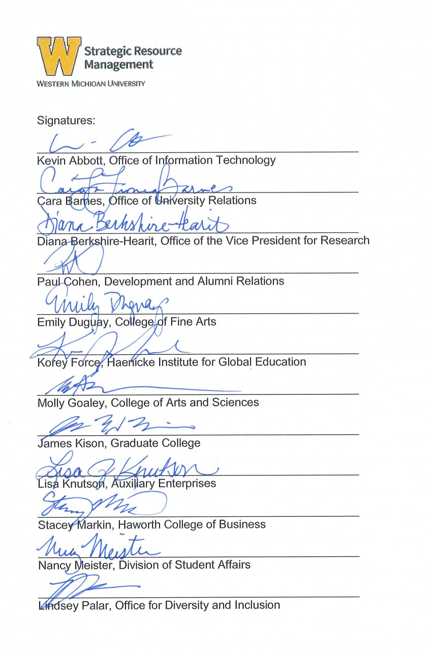 This is an image containing the signatures of members of the Communications work group: Kevin Abbott, Cara Barnes, Diana Berkshire-Hearit, Paul Cohen, Emily Duguay, Korey Force, Molly Goaley, James Kison, Lisa Knutson, Stacey Markin, Nancy Meister and Lindsey Palar.