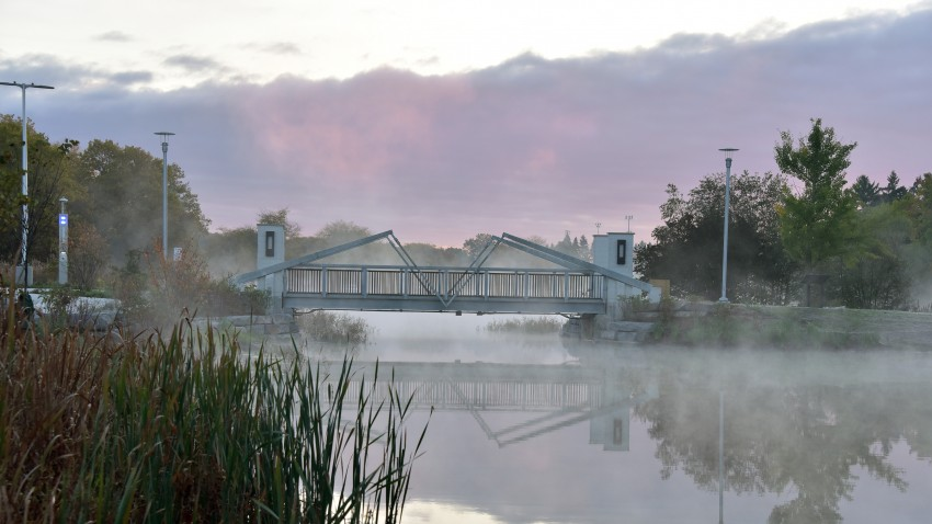 View of the bridge over Goldsworth Pond on a foggy autumn morning.