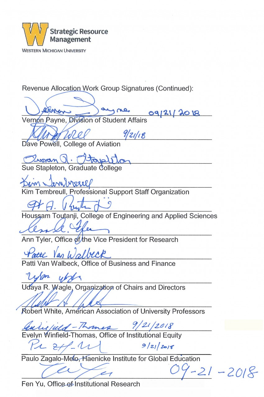 This is an image containing the signatures of the Revenue Allocation work group: Vernon Payne, Dave Powell, Sue Stapleton, Kim Tembreull, Houssam Toutanji, Ann Tyler, Patti Van Walbeck, Udaya R. Wagle, Robert White, Evelyn Winfield-Thomas, Fen Yu and Paulo Zagalo-Melo.