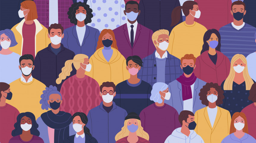 An animation of various people wearing protective face masks.