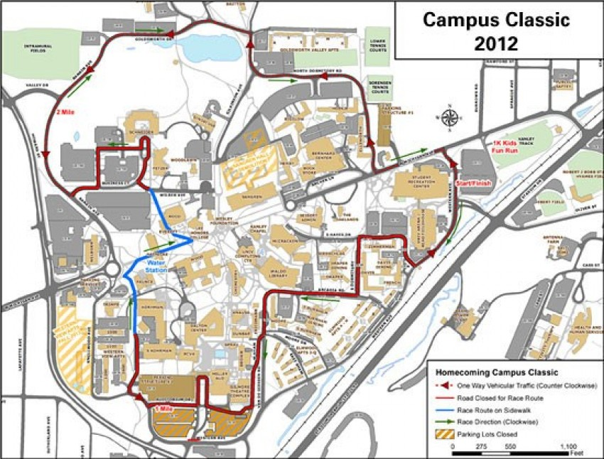 Map of Homecoming Campus Classic 5K course.