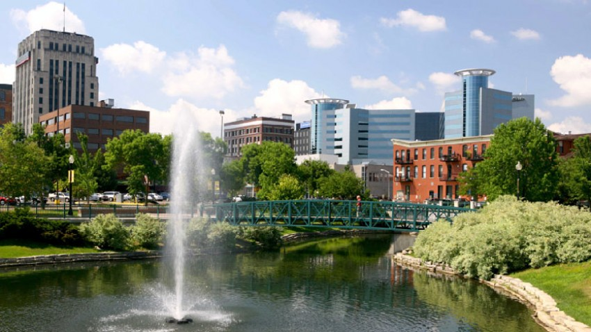 Photo of downtown Kalamazoo and Arcadia Festival Place.