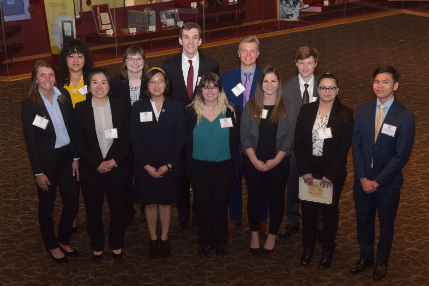 Photo of WMU accountancy students in front row, left to right, are Shannon Hill, Likun Sun, Jessica Chin, Angela Middaugh, Olivia Langdon, Veronicaa Mehta and Kevin Silitonga. In back row, left to right, are Lori Terrell, Shelby Christian, Max Fiebelkorn, Adrian Kunina and Norman Weber.