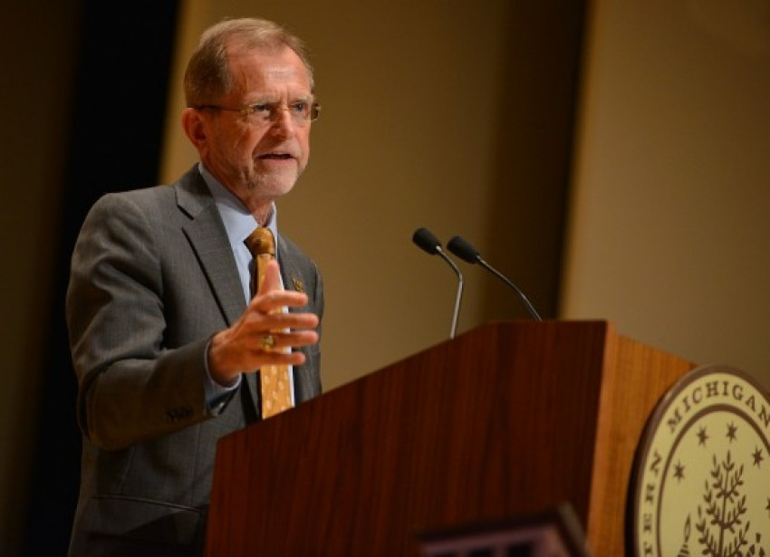 Dr. John M. Dunn speaking at the Academic Convocation