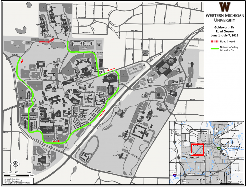 Summer 2015 Campus Detour Map | Visit WMU | Western Michigan University
