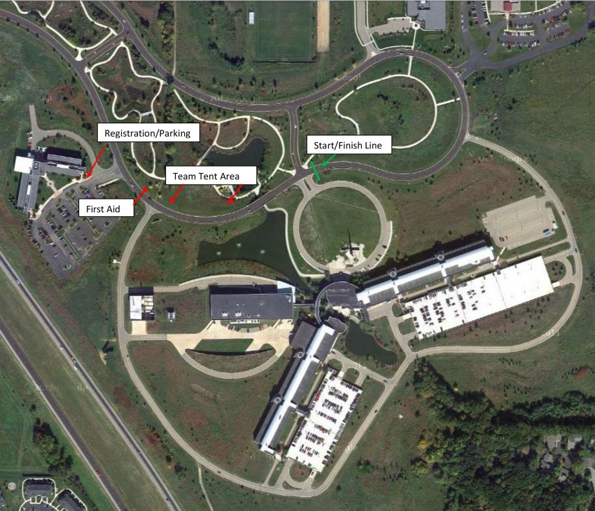 course map showing registration and parking, start and finish line, first aid and team tent areas