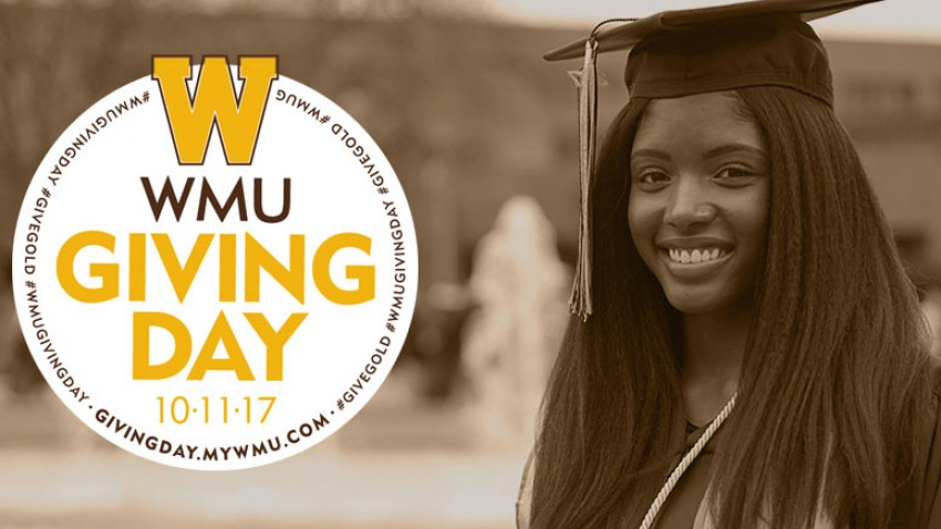 Photo of a WMU student dressed in her graduation gown and cap with the WMU Giving Day logo laid over a portion of the photo.