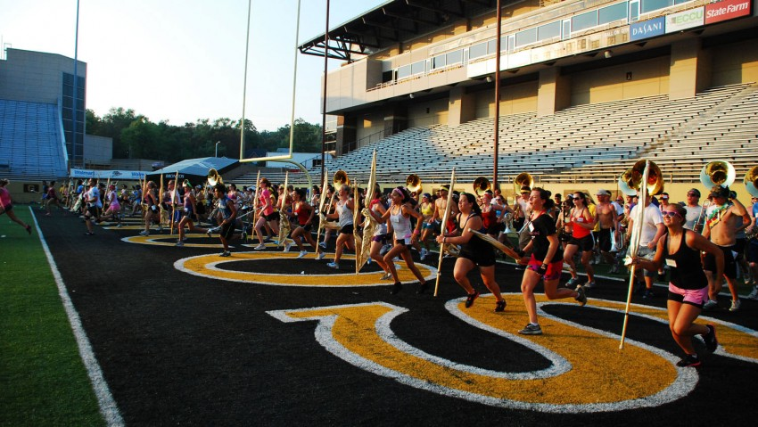 Band practice on football field