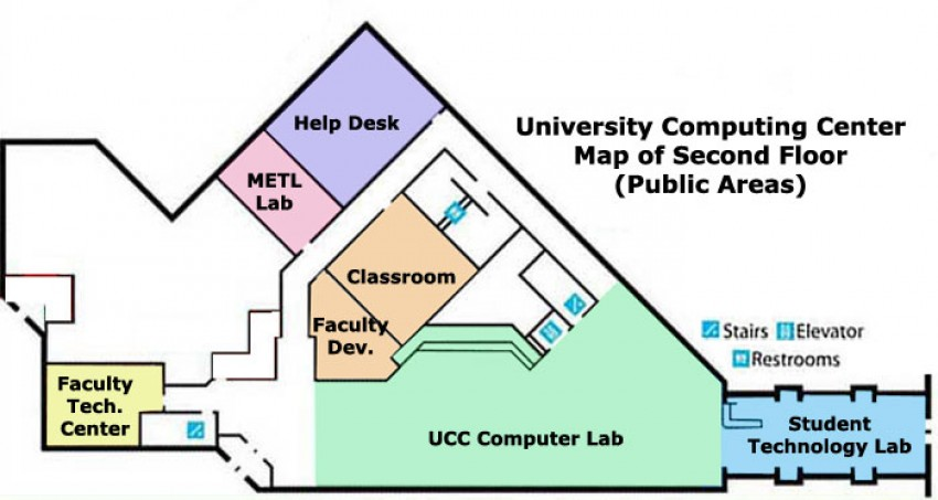 map of the second floor public areas of the University Computing Center