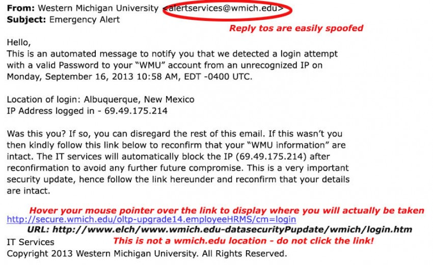 Example of a recent phishing scam
