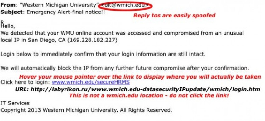 display of how to check a phishing email