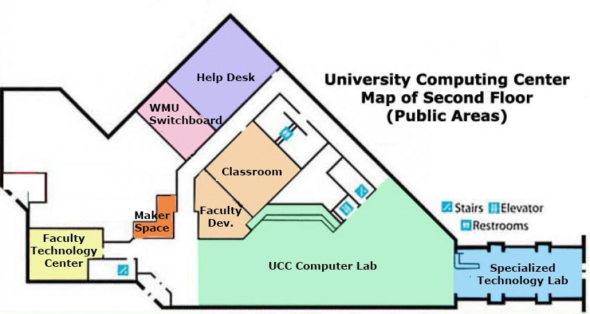 Map of the second floor of the University Computing Center showing where facilities are located