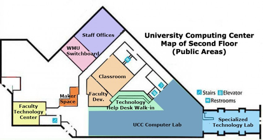 map of the UCC second floor and new location of the Technology Help Desk