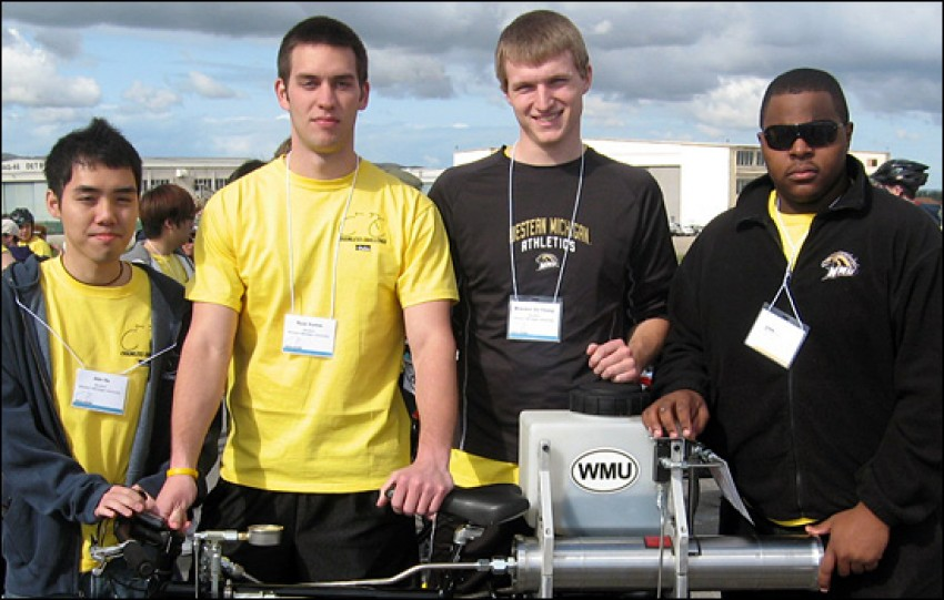 Photo of Jian He, Ryan Kamm, Brandon De Young and Saleem Hinton.