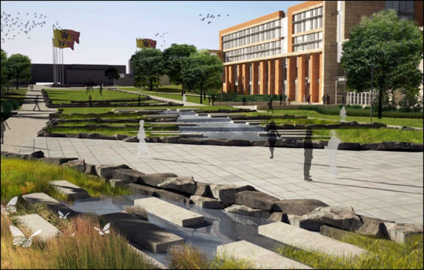 Artist's rending of the new West Michigan Avenue pedestrian mall and water feature.
