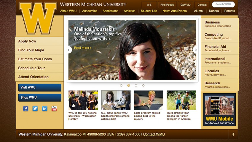 Screenshot of WMU's new home page.