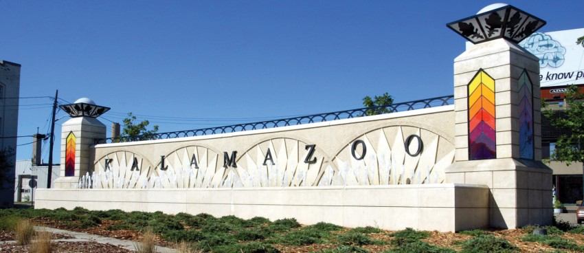 Photo of the Kalamazoo entrance sign.