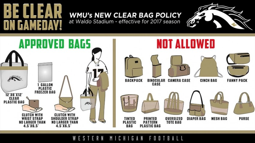 Graphic: WMU's new clear bag policy is effective at Waldo Stadium for the 2017 season.
