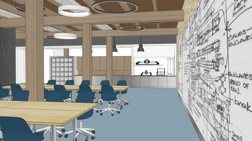 Artist's rendition of instructional space at WMU AMP Lab.