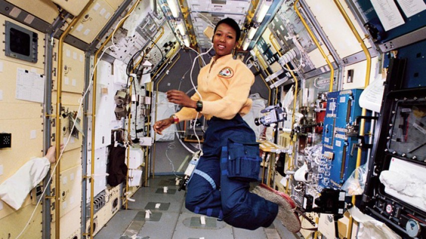 Photo of Mae Jemison in space.