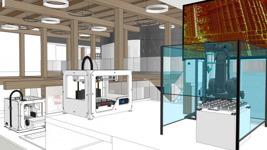 Artist's rendition of WMU AMP Lab makerspace.