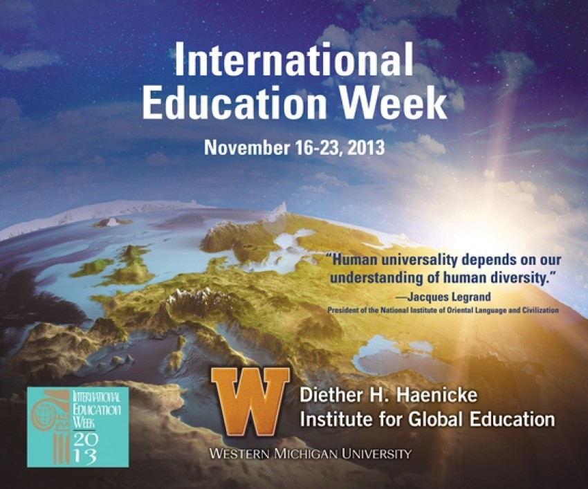 graphic image of International Education Week 2013 poster