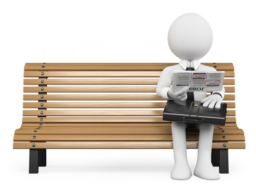 Photo of job seeker on bench