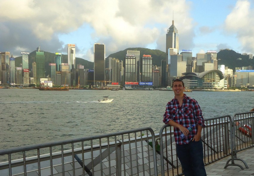 Joey Rasich at Victoria Harbor in Hong Kong