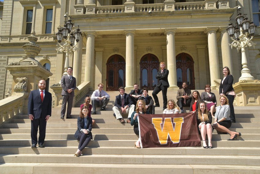 WMU Capitol interns on the steps in front of the Michigan State Capitol building.