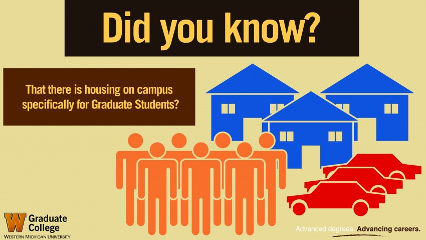 This info graphic asks Did you know that there is housing on campus specifically for Graduate Students?. There are three simplified images of houses near the top with three red cars below them, and to the left are seven stick people in orange.