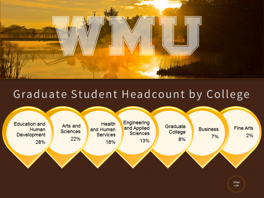 This info graphic is a modified bar graph that looks a bit like seven balloons in a row, each is gold with a light tan circle inside that serves as the background for the text that shows data which represents the makeup of the universities graduate student body grouped by college. The first group is Education and Human Development at 28%. The second gray is the College of Arts and Sciences at 22%. The third group is the College of Health and Human Services at 18%. The forth is the College of Engineering and Applied Sciences at 13%. The fifth is the Graduate College at 8%. The sixth group is the College of Business at 7%. The seventh and final group is the College of Fine Arts. At 2%.