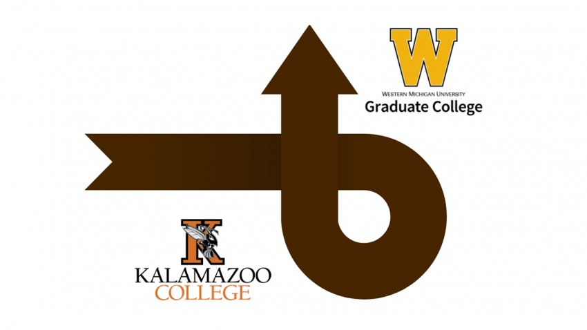 This image is primarily a large brown arrow that starts on the left hand side of the image, does a loop and heads up towards the top of the image. At the start is the Kalamazoo College logo which is made up of a large Orange Letter K with the Kalamazoo College Hornet mascot on it and Kalamazoo College written below. Near the top of the large brown arrow is the Western Michigan University W logo. The W is a large gold W with thin brown trim around the outside with Western Michigan University Graduate College written below. The arrow signifies the start of a person's educational journey at Kalamazoo college where they would earn a Bachelors degree, and then progress to Western Michigan University to earn a Master's degree.