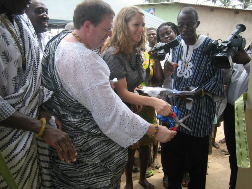 Sean Bashaw at ribbon cutting ceremony in Ghana