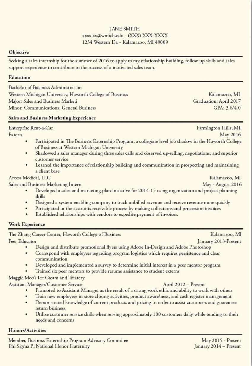 An image of a resume after getting a critique from Career and Student Employment Services