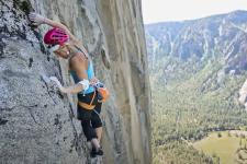 Emily Harrington free climbing in Yosemite National Park.
