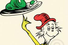 Dr. Seuss' Sam I Am holding up green eggs and ham.