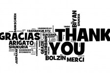 The words thank you in multiple languages.