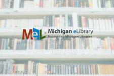 Bookshelves with MeLCat logo overlay. Background photo by chuttersnap on Unsplash