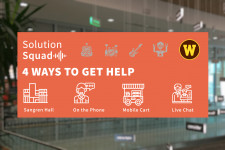 Solution Squad logo over photo of Swain Education Library in Sangren Hall.