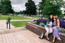 Samantha Trimm and Kaley Kelly relax in a park in London!