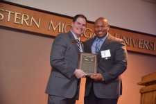 Randall Rochon Being presented the WMU College of Aviation Excellence in Diversity Award